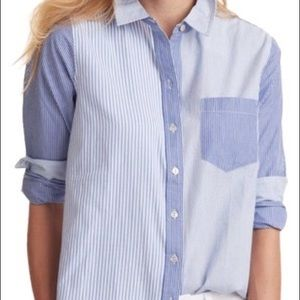 VINEYARD VINES blue/white striped mix button down